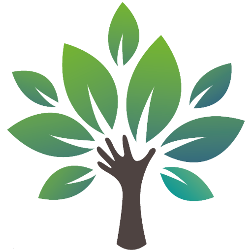 Borrow my Garden logo favicon brown hand reaching up and 9 leaves splayed to look like a tree