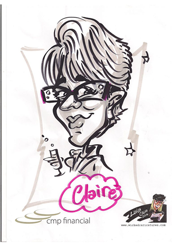 Caricature of lady with glasses and short hair hold champagne