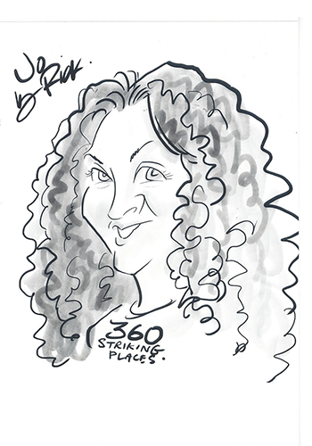 Caricature of lady with long curly hair and 360 striking places written on her t-shirt