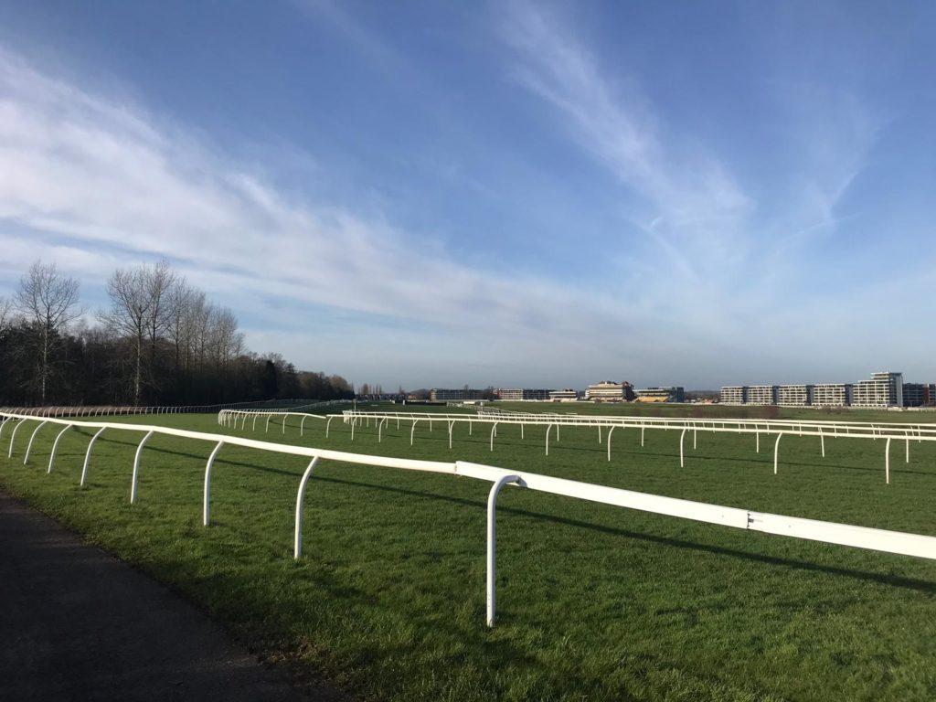 Newbury race track with blue sky