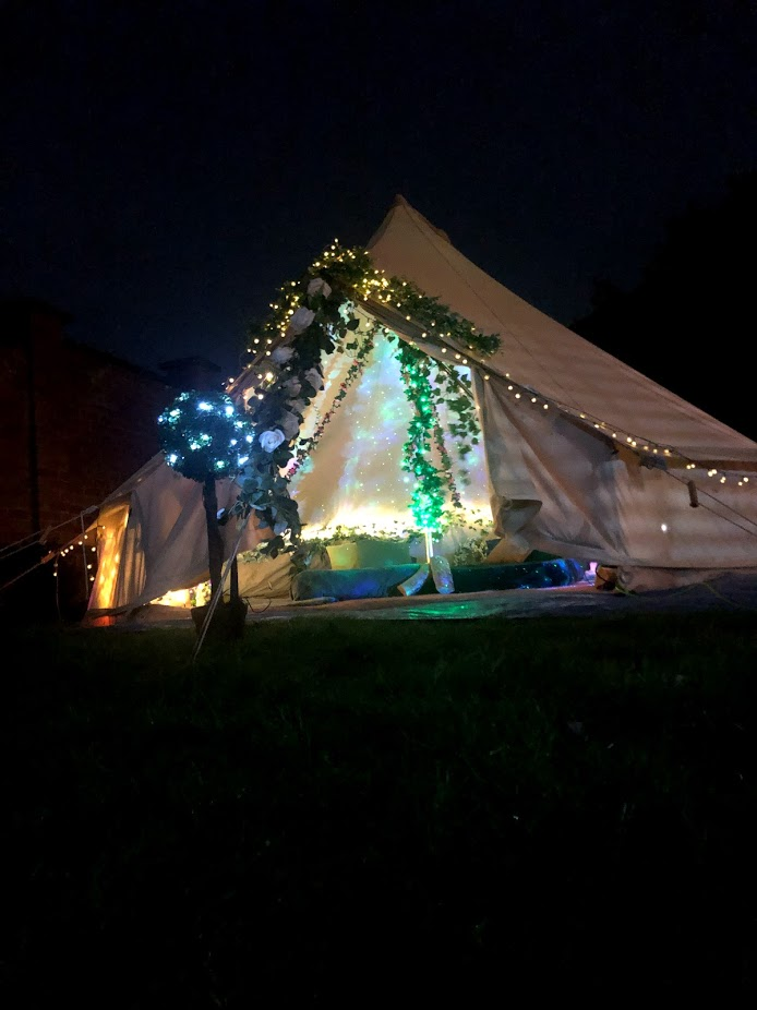 Bell tent night time