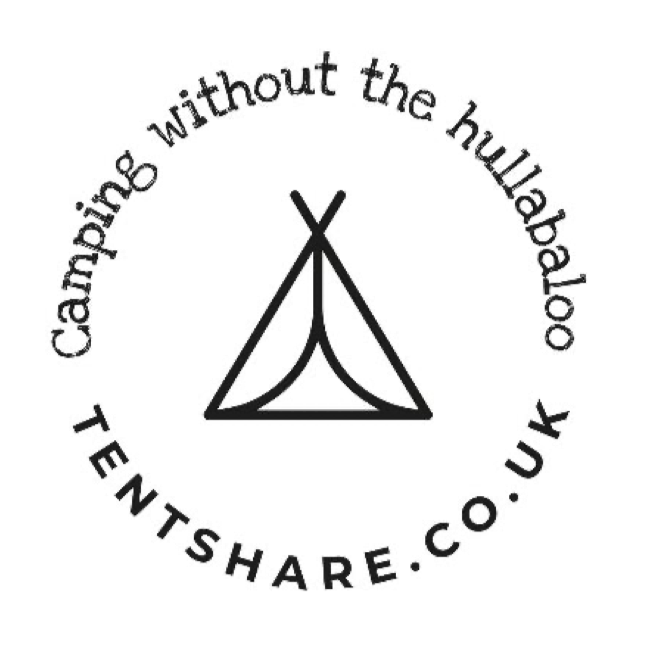 tentshare logo with tagline camping without the hullabaloo