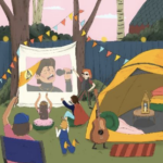 colourful drawing of a small outside festival with a tent and a sheet up showing someone singing with the audience enjoying themselves