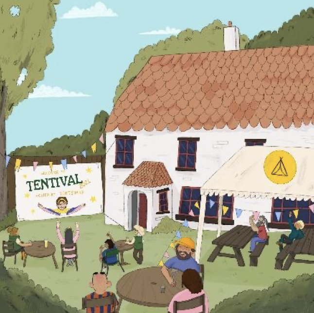 a colourful drawing of a festival in someone's garden with tables and people sitting around them. White house with orange tiled roof