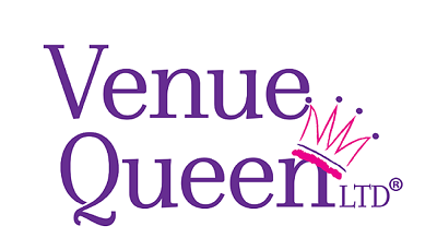 Venue Queen LTD text with pink drawn crown tilted on the n