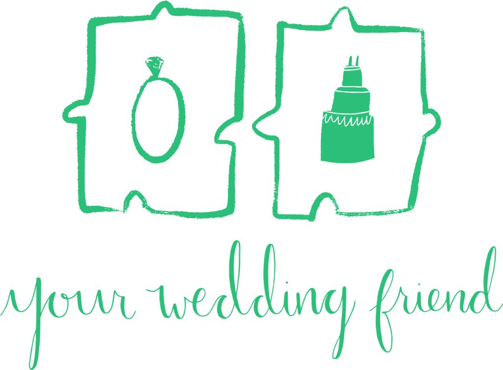 Your wedding friend green logo with a ring and a cake inside 2 jigsaw pieces