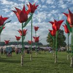 Giant red material tulips at a festival with blue sky with small puffy clouds